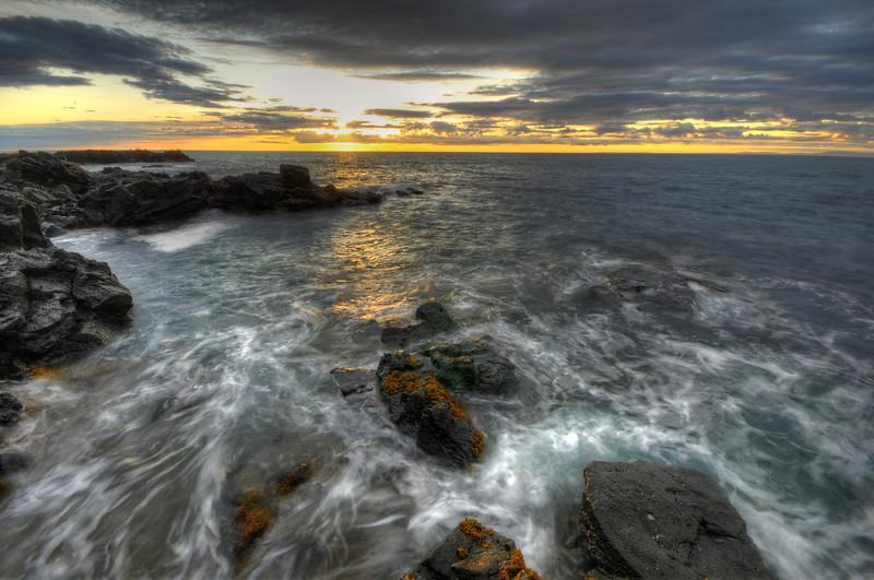 Sunset over the Atlantic Ocean, Northwest Iceland.