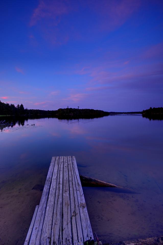 Boat dock after dusk on Big Lake, Wisconsin.