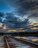An HDR of the evening sky over the tracks.  Wiscasset, Maine.