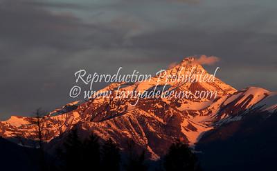 Dawn Alpenglo, Mt Nelson. June 2012