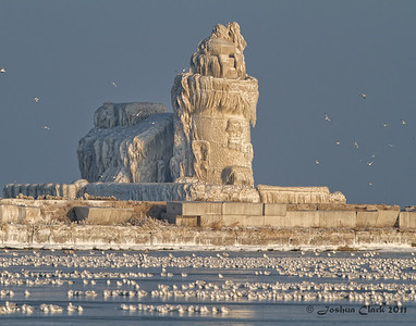Sunrise at Frozen Cleveland Harbor West Pierhead LighthouseWendy Park, Ohio