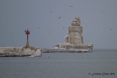 Frozen Cleveland Harbor West Pier LighthouseWendy Park, Ohio