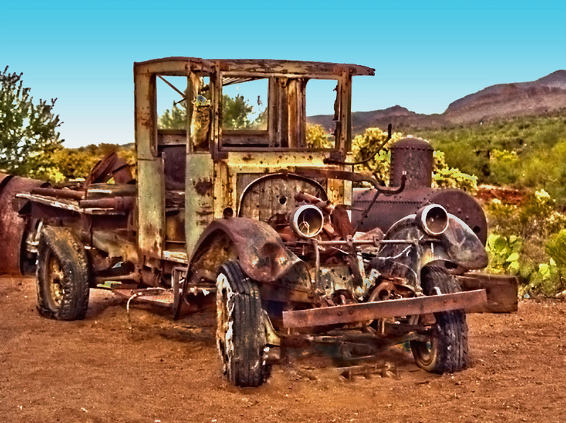 Arizona desert ghost car.
