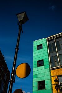 Street signs in shadow, Clerkenwell Close, Farringdon, London. March 02, 2017. Photo: Edmond Terakopian