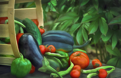 Rendering of a vegetable basket from our garden in NY.