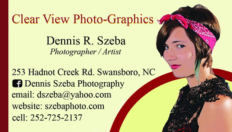 "My latest business card design. I've had people say ""That's not you!""  ummm, you're right...it's an artistic rendering of a model I photographed in 2013..."
