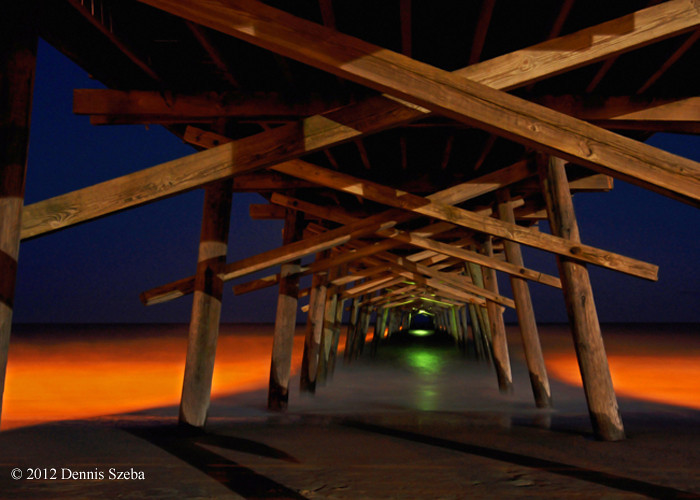 Underneath Bogue Pier at night - Emerald Isle, NC
