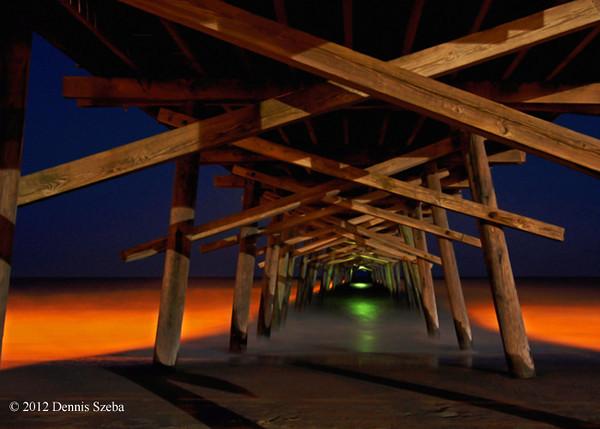 Underneath Bogue Pier at night - Emerald Isle, NC