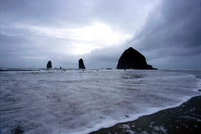 Haystack Rocks off Cannon Beach, Oregon on Jan. 21, 2002 - photo by NPS