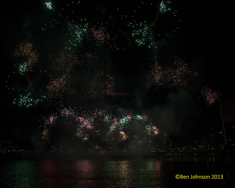 SugarHouse Casino's New Year's Eve Fireworks on the Delaware River between Penns Landing in Philadelphia and The Camden New Jersey Waterfront viewed from Camden January 1, 2013