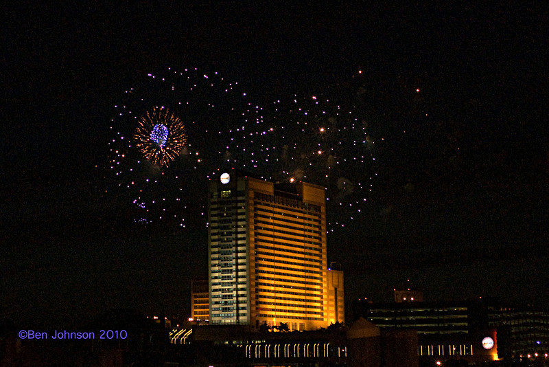 July 4th Fireworks at Borgota Viewed From The Dock at Gardner's Basin in Atlantic City New Jersey