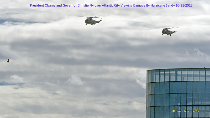 President Barack Obama and New Jersey Governor Chris Christie survey the damange done to the New Jersey coastline by Hurricane Sandy over Atlantic City New Jersey and heading North toward Brigantine New Jersey