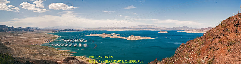 Panoramic View Of Lake Meade's Beginning From Hoover Dam On The Right Merged From 11 Seperate Images In Camera Raw