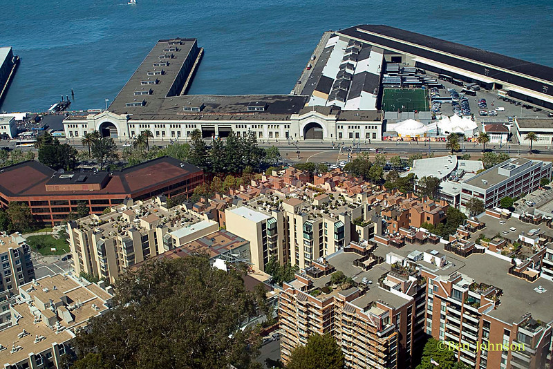 San Francisco Bay and The San Francicso Wharf. Image taken from the top of The Hoyt Tower