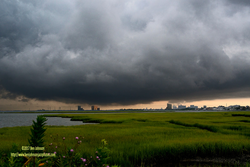 A Series Of  Strong Thunderstorms Just Approaching Atlantic City New Jersey Viewed From Somers Point New Jersey July 14, 2017