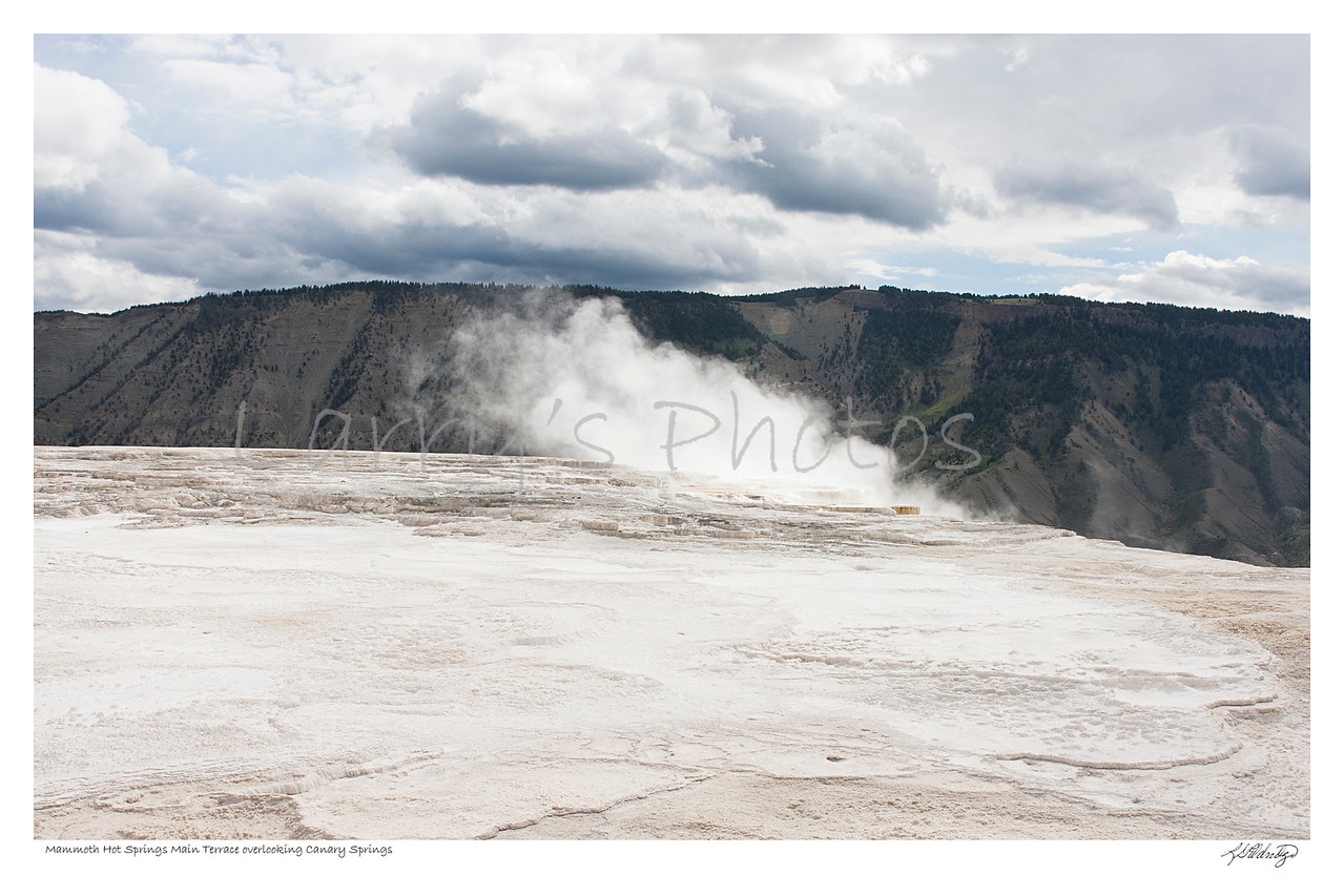 Mammoth Hot Springs Main Terrace overlooking Canary Springs, Yellowstone Wyoming