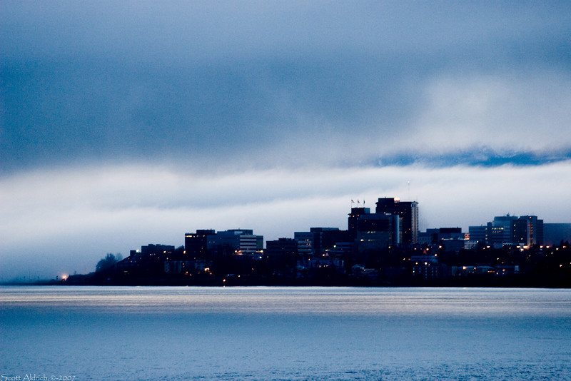 Downtown Anchorage Alaska on a foggy winter morning.