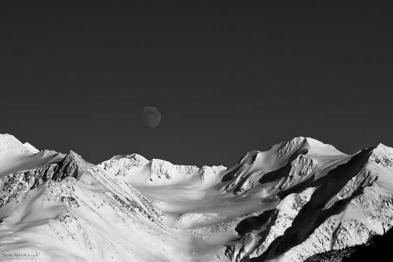 Moon over Chugach Mountains, Anchorage, Alaska.