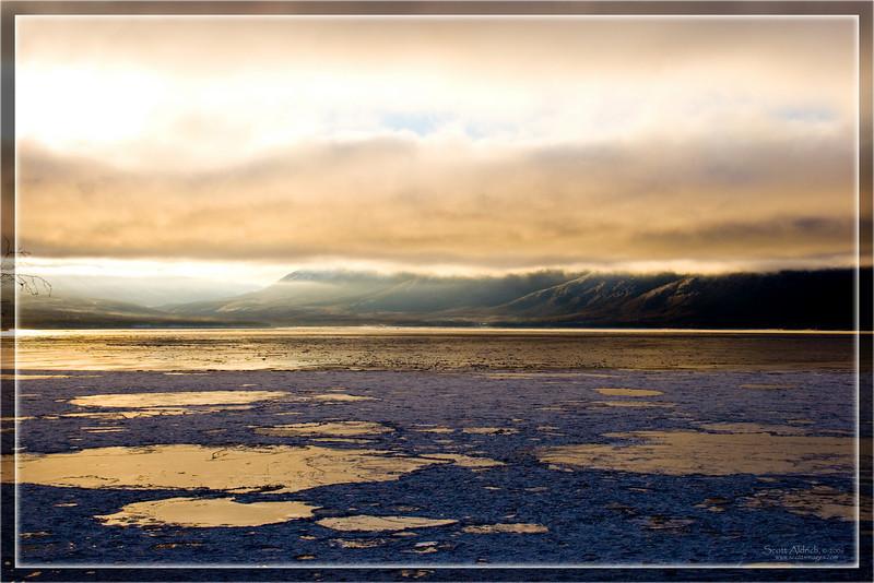 Sunrise on icy Turnagain Arm of Cook Inlet, Alaska