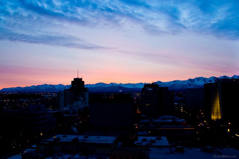Winter dawn over Anchorage ~ Chugach Mts.