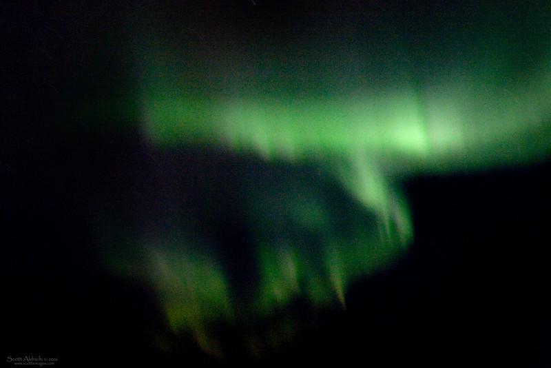 Aurora, taken from cockpit window above 30,000 feet..