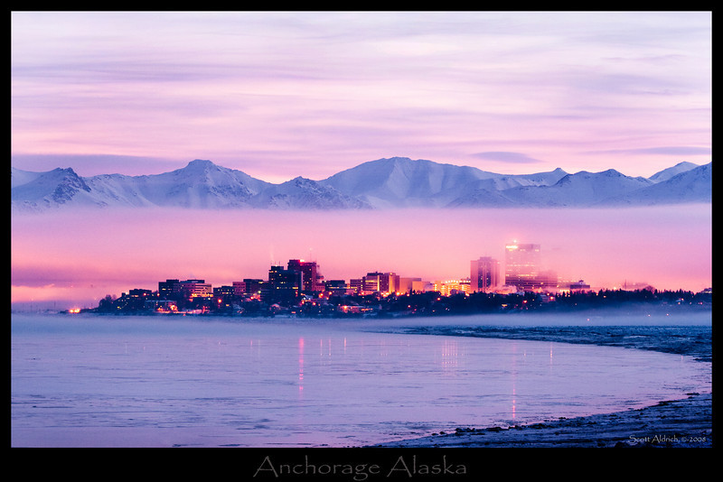Downtown Anchorage foggy winter morning.