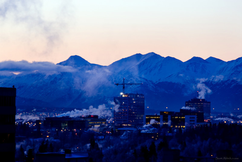 Anchorage, cold winter morning.