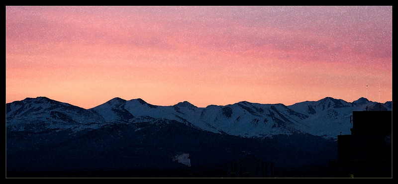 Sunrise over Chugach Mountains West of Anchorage.