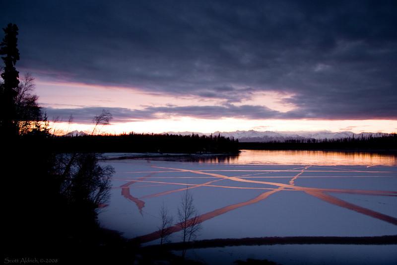 Echo Lake, Alaska freezing over.