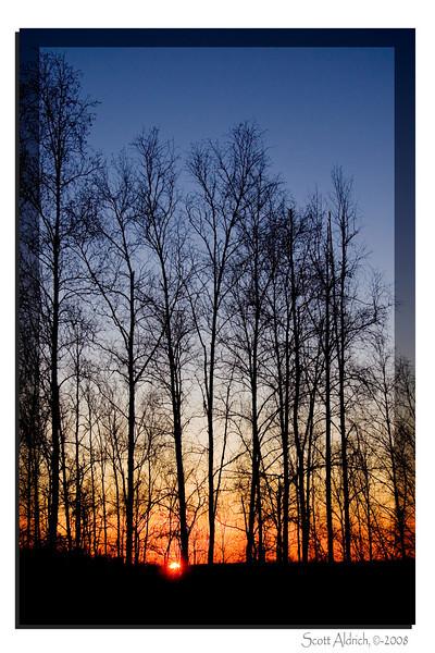 Winter Sunset Big Lake, Alaska.