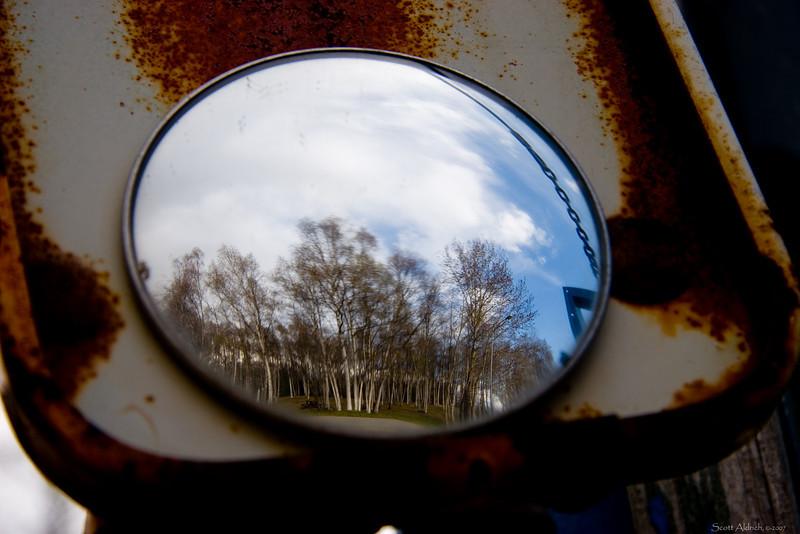 Rusty mirror, Lake Hood Seaplane Base, Alaska.