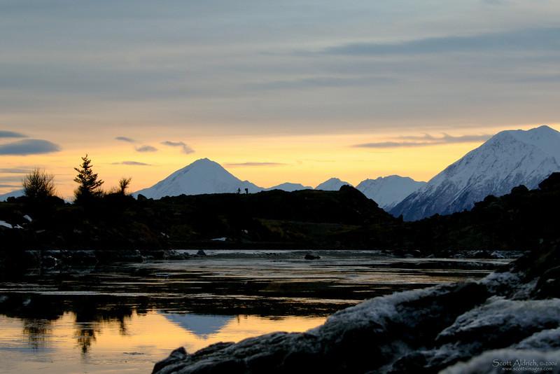 "Sunrise on the ""Turnagain"" arm of Cook Inlet, Alaska."
