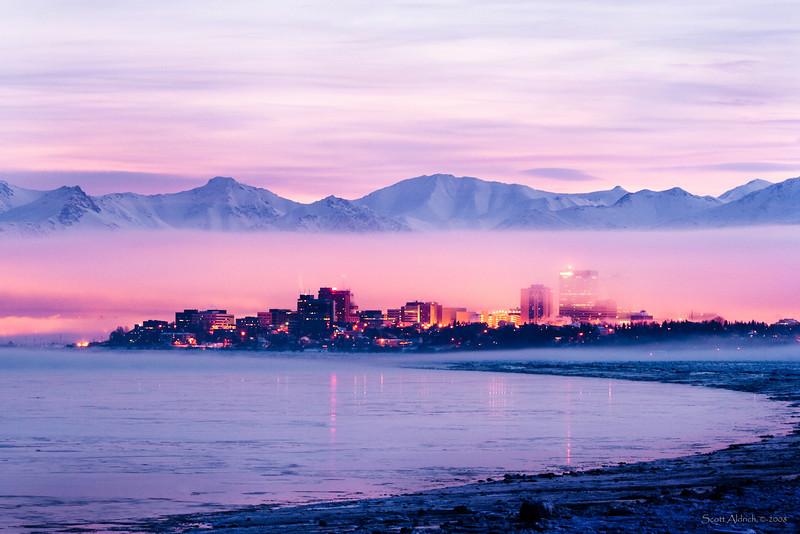 Anchorage, winter sunrise, ice fog.