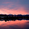 Sunrise in winter time over the Chugach Mts. Lake Hood Seaplane base, Alaska.