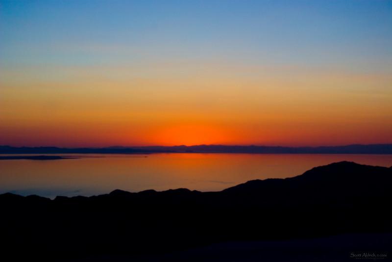 Sunset over the Great Salt Lake, Utah.  Aerial photo.