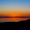 Sunset over the Great Salt Lake, Utah.  Aerial photo.