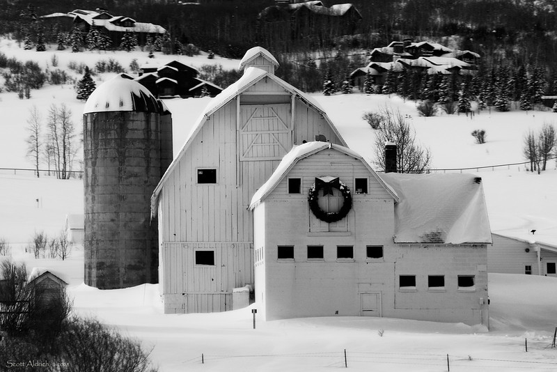 "The ""White Barn"" in the winter."