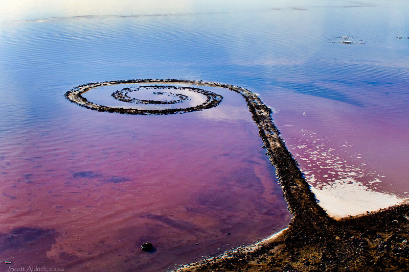 "SSpiral jetty, Great Salt Lake, Utah. Taken from the ""Moose"" home built aircraft."