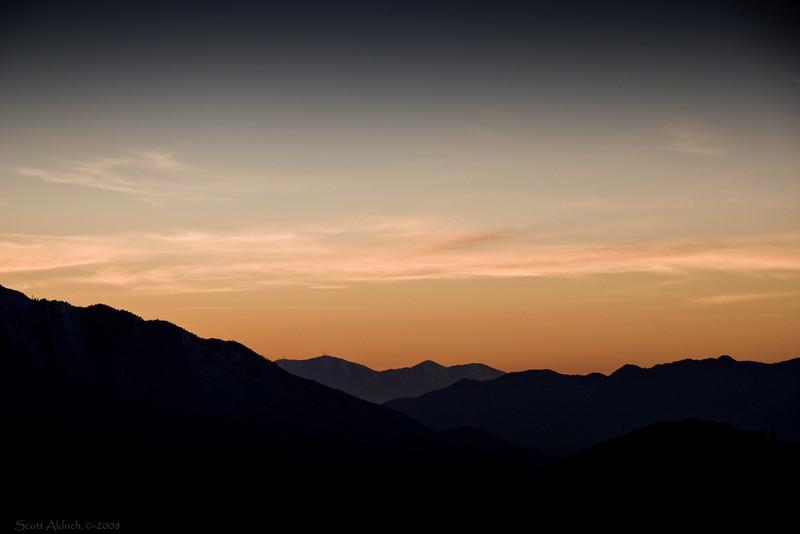 Sunset looking toward Salt Lake City from Parley's Summit, UT.