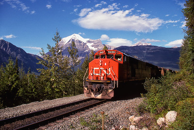 CN Westbound along Yellowhead at Mt. Robson.