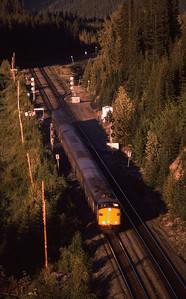 Via #3 (Supercontinental) westbound from Jasper, Alberta 1988