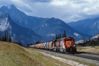 CN Westbound unit grain train approaches Jasper, Alberta 1988.