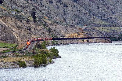 CN Westbound along the Fraser River 1986.