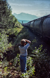 Son, Bryan, captures a shot along the Yellowhead, 1991.