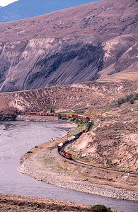 CN Eastbound from Black Canyon near Aschcroft, BC.   1997