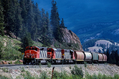 CN Westbound approaches Jasper, Alberta  1988