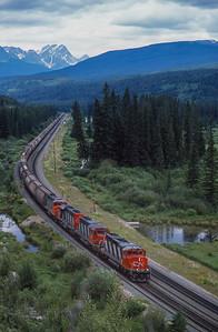 CN Eastbound approaches Jasper, Alberta 1988