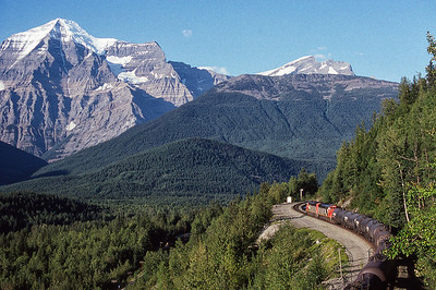 CN Eastbound at Mt. Robson, 1991.