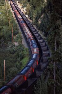 Two unit trains meet west of Jasper, Alberta 1988.