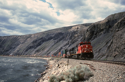 CN Eastbound in Black Canyon, west of Ashcroft, B. C. 2005